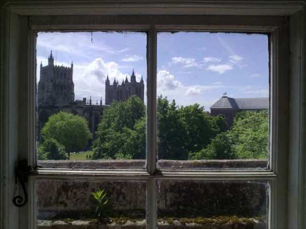 A view of Bristol Cathedral and the unicorn on College Green